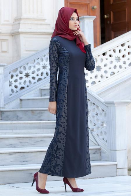 Aşiyan - Deri Detaylı Lacivert Elbise 7035L