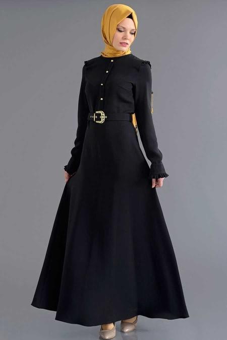 Bislife - Kemerli Siyah Elbise 7026S