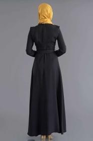 Bislife - Kemerli Siyah Elbise 7026S - Thumbnail