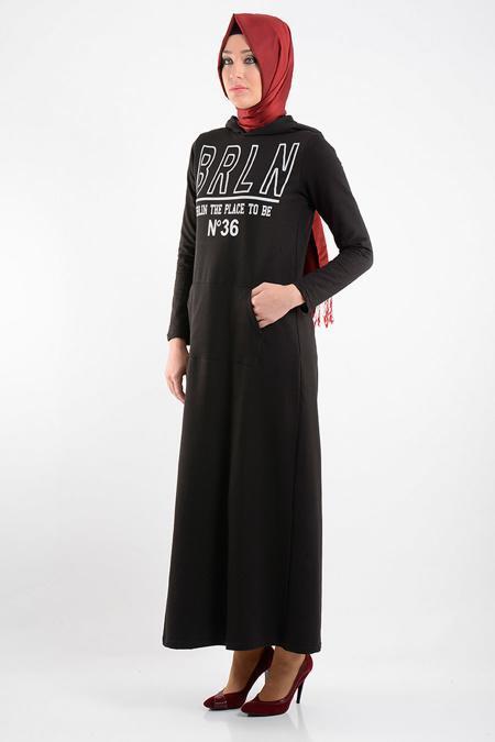 Bwest - Belden Büzgülü Siyah Tesettür Elbise 0133-01S