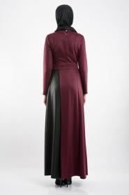 FY Collection - Deri Detaylı Mürdüm Tesettür Elbise 52326-01MU - Thumbnail