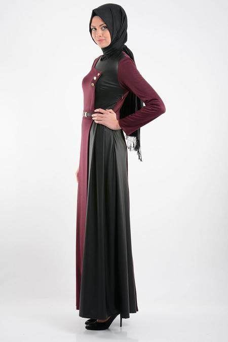 FY Collection - Deri Detaylı Mürdüm Tesettür Elbise 52326-01MU