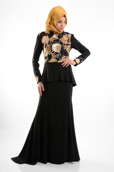 GRL - Payet İşlemeli Siyah Tesettür Elbise 3394S