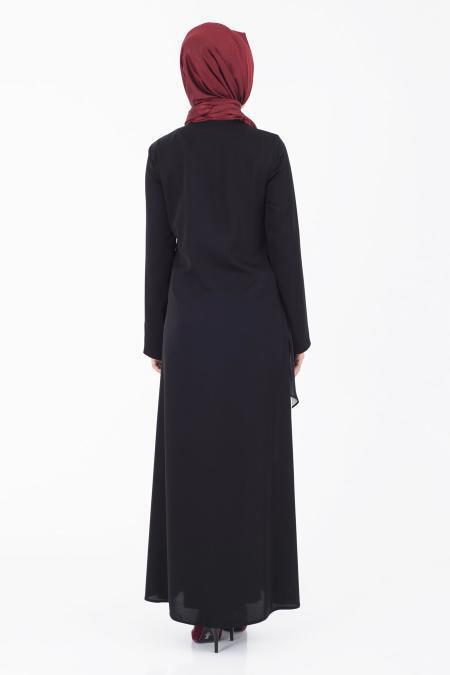 İpekdal - Çizgili Siyah Tesettür Ferace 9252S