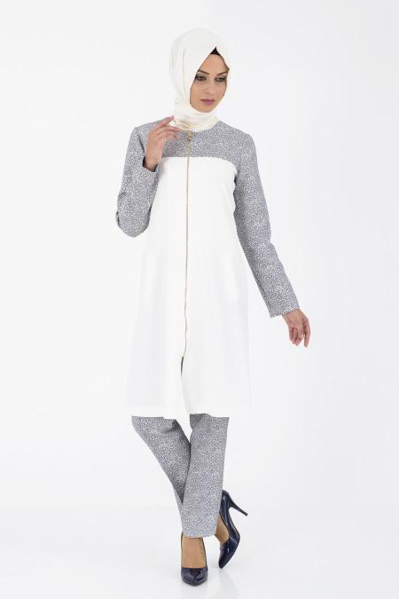İpekdal - Lacivert Tunik/Pantolon Tesettür Takım 6067L