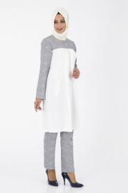 İpekdal - Lacivert Tunik/Pantolon Tesettür Takım 6067L - Thumbnail