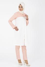 İpekdal - Somon Tunik/Pantolon Tesettür Takım 6067P - Thumbnail