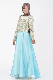 İpekdal - Ceket Görünümlü Mint Tesettür Elbise 6071MINT - Thumbnail