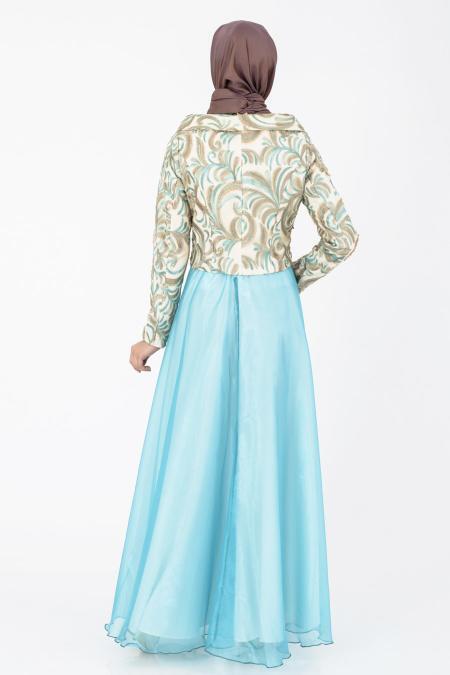 İpekdal - Ceket Görünümlü Mint Tesettür Elbise 6071MINT