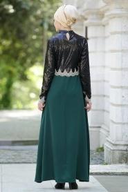 Nayla Collectiion - Üstü Payetli Yeşil Tesettür Elbise 5269Y - Thumbnail
