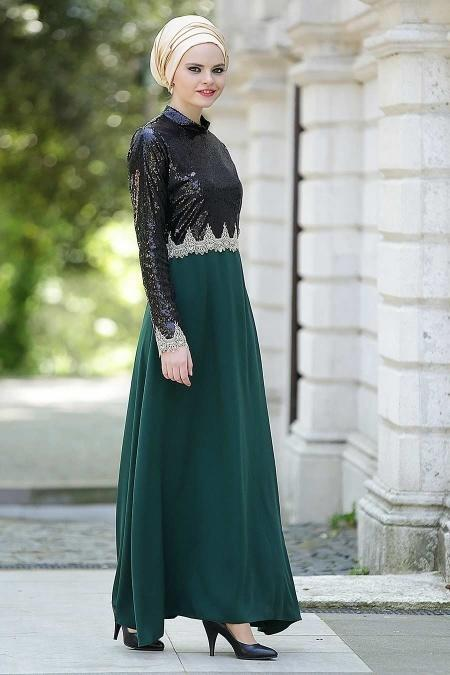 Nayla Collectiion - Üstü Payetli Yeşil Tesettür Elbise 5269Y