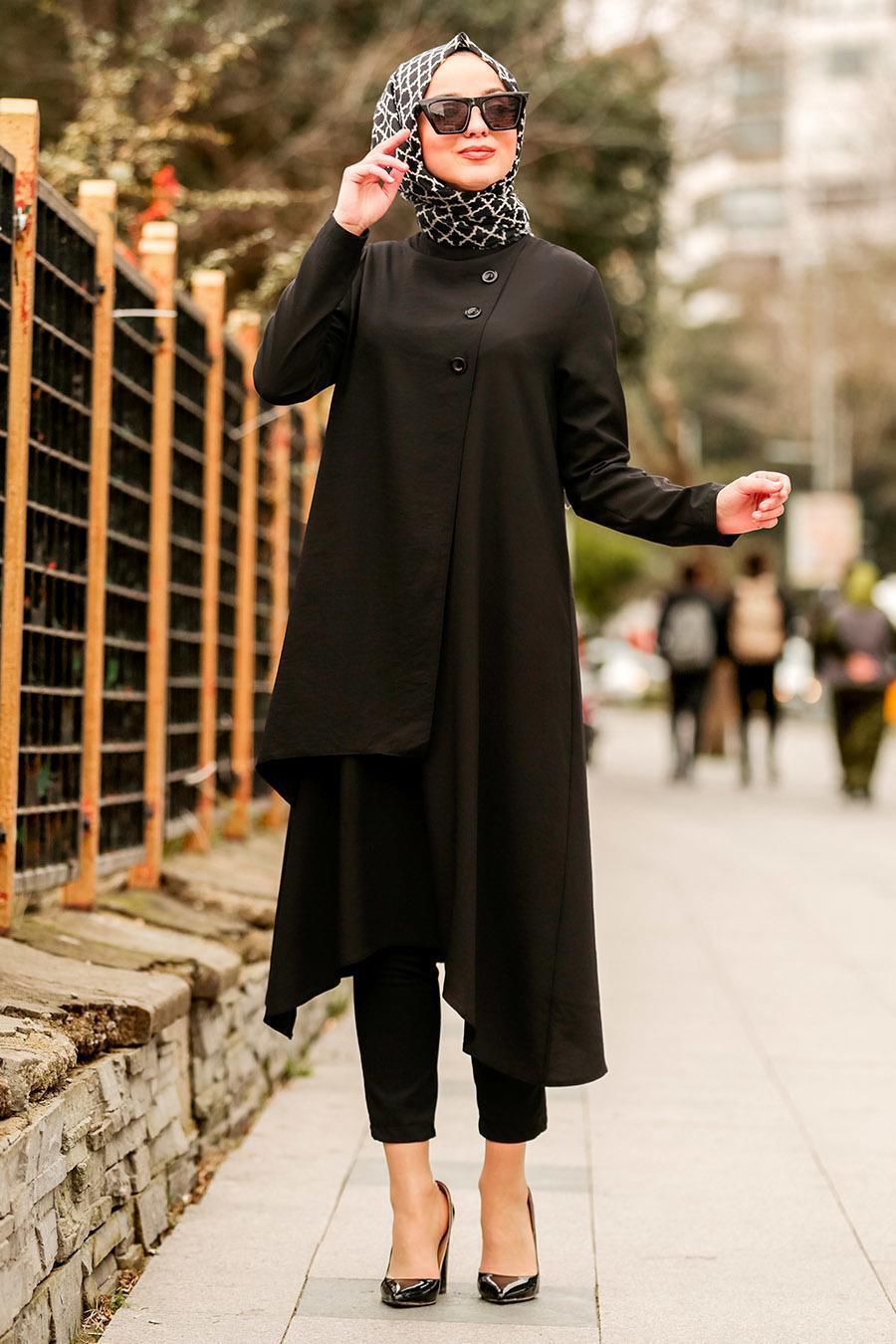 Nayla Collection - Asimetrik Kesim Siyah Tesettür Tunik 5424S