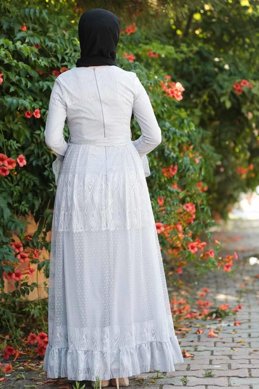 Nayla Collection - Bağcıklı Gri Tesettür Elbise 1306GR