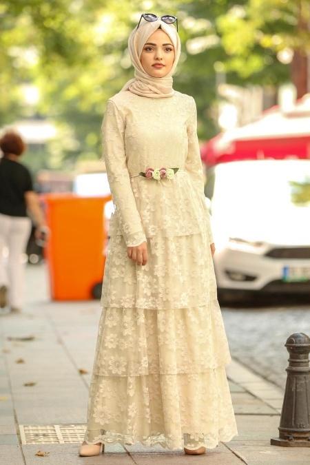 Nayla Collection - Beli Çiçek Detaylı Sarı Tesettür Elbise 100422SR