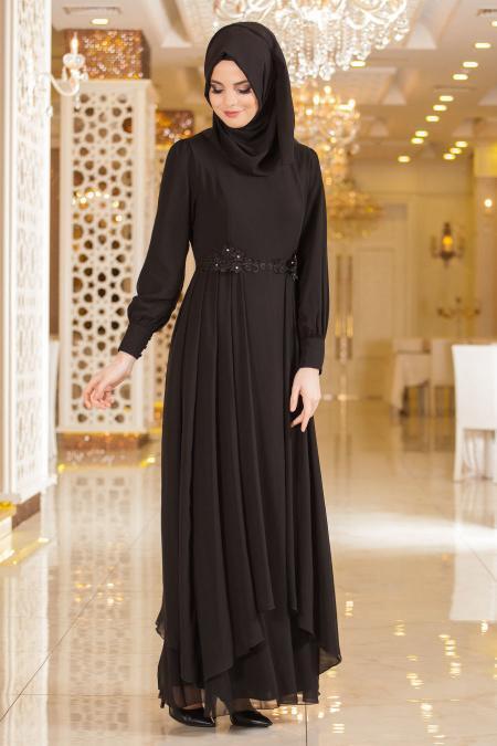 Nayla Collection - Beli Çiçek Detaylı Siyah Tesettür Abiye Elbise 52559S