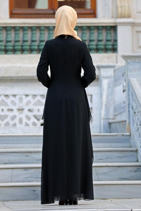 Nayla Collection - Beli Dantel Detaylı Siyah Tesettür Abiye Elbise 52546S