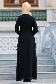 Nayla Collection - Beli Dantel Detaylı Siyah Tesettür Abiye Elbise 52546S - Thumbnail
