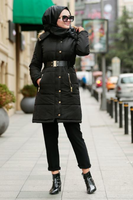 Nayla Collection - Black Hijab Coat - 5064S