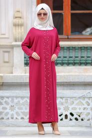 Nayla Collection - Boncuk Detaylı Fuşya Tesettür Elbise 73120F - Thumbnail
