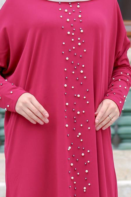 Nayla Collection - Boncuk Detaylı Fuşya Tesettür Elbise 73120F