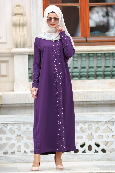 Nayla Collection - Boncuk Detaylı Mor Tesettür Elbise 73120MOR