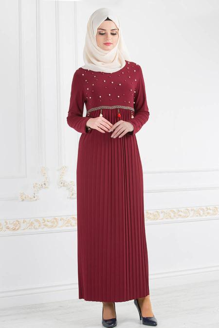 Nayla Collection - Boncuk Detaylı Piliseli Bordo Tesettür Elbise 18021BR