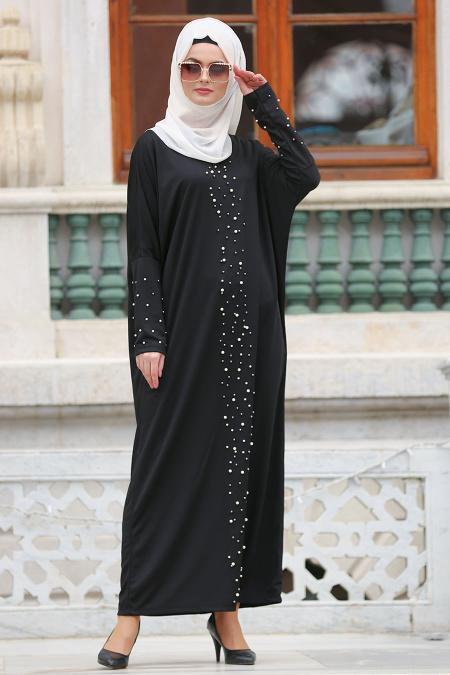 Nayla Collection - Boncuk Detaylı Siyah Tesettür Elbise 73120S