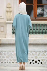 Nayla Collection - Boncuk Detaylı Turkuaz Tesettür Elbise 73120TR - Thumbnail