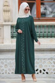 Nayla Collection - Boncuk Detaylı Yeşil Tesettür Elbise 73120Y - Thumbnail