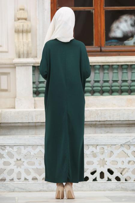 Nayla Collection - Boncuk Detaylı Yeşil Tesettür Elbise 73120Y