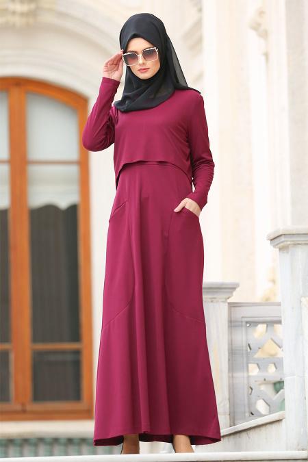 Nayla Collection - Cepli Fuşya Tesettür Elbise 42070F
