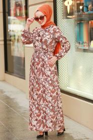 Nayla Collection - Çiçek Desenli Tesettür Elbise 80050DSN - Thumbnail