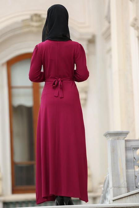 Nayla Collection - Çiçek İşlemeli Fuşya Tesettür Elbise 76370F