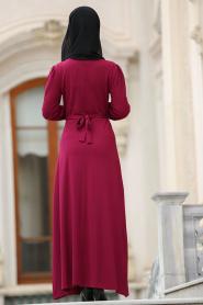 Nayla Collection - Çiçek İşlemeli Fuşya Tesettür Elbise 76370F - Thumbnail