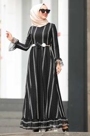 Nayla Collection - Çiçek Kemerli Siyah Tesettür Elbise 1375S - Thumbnail