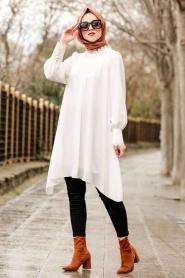 Nayla Collection - Dantel Detaylı Beyaz Tesettür Tunik 5000B - Thumbnail