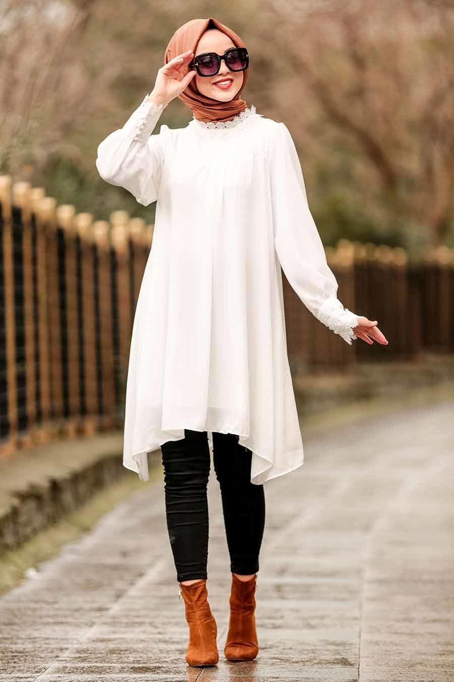 Nayla Collection - Dantel Detaylı Beyaz Tesettür Tunik 5000B