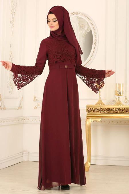 Nayla Collection - Dantel Detaylı Bordo Tesettür Abiye Elbise 25670BR