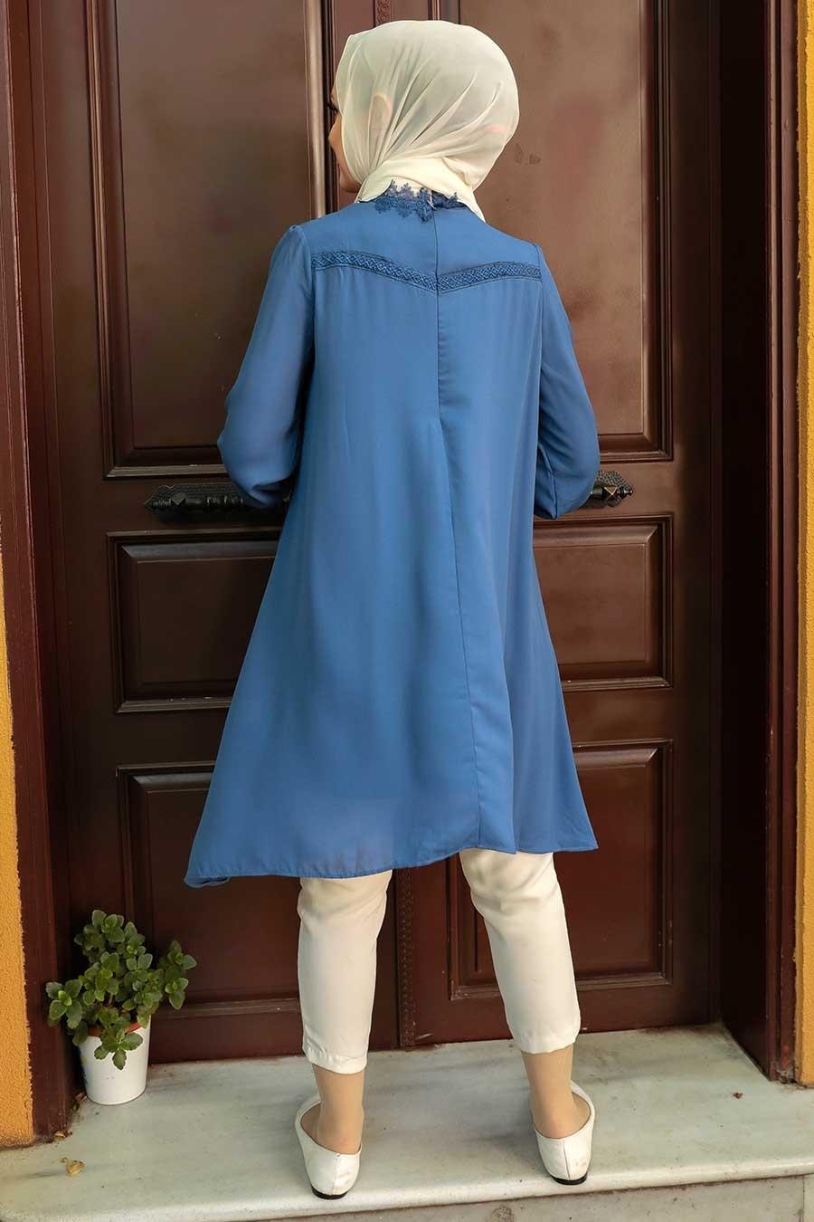 Nayla Collection - Dantel Detaylı İndigo Mavisi Tesettür Tunik 5000IM