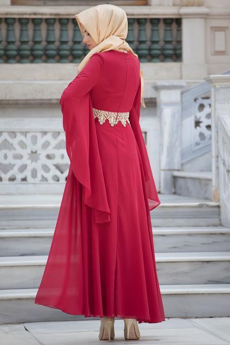 Nayla Collection - Dantel Detaylı Kırmızı Tesettür Elbise 4173K