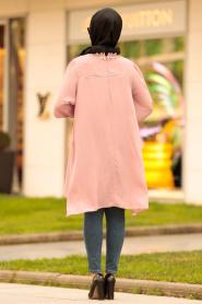 Nayla Collection - Dantel Detaylı Pudra Tesettür Tunik 2265PD - Thumbnail