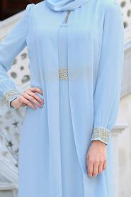 Nayla Collection - Dantel Detaylı Tüllü Bebek Mavisi Tesettür Abiye Elbise 95843BM - Thumbnail