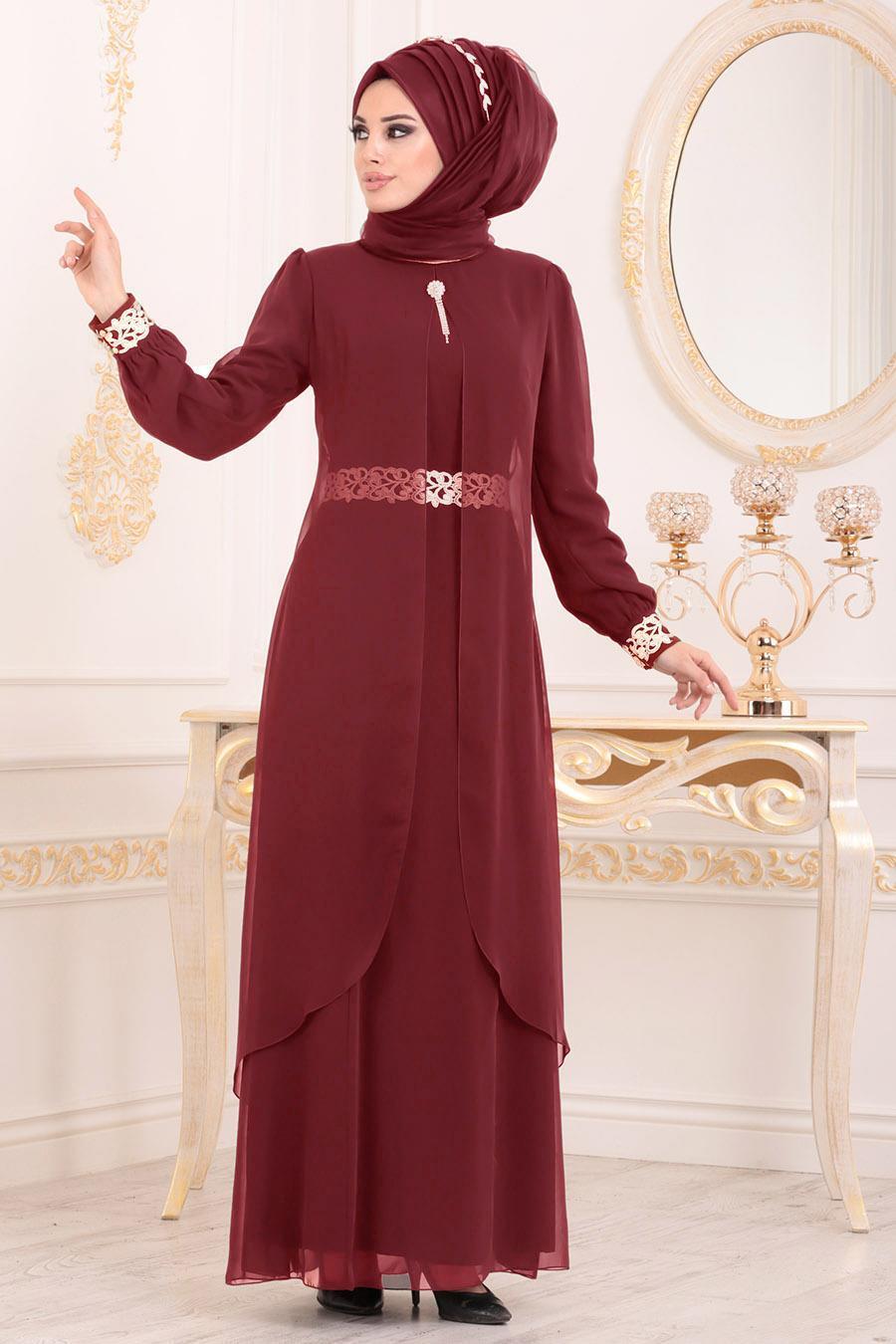 Nayla Collection - Dantel Detaylı Tüllü Bordo Tesettür Abiye Elbise 95843BR