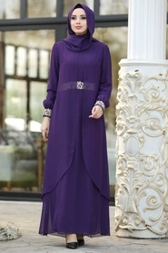 Nayla Collection - Dantel Detaylı Tüllü Mor Tesettür Abiye Elbise 95843MOR - Thumbnail
