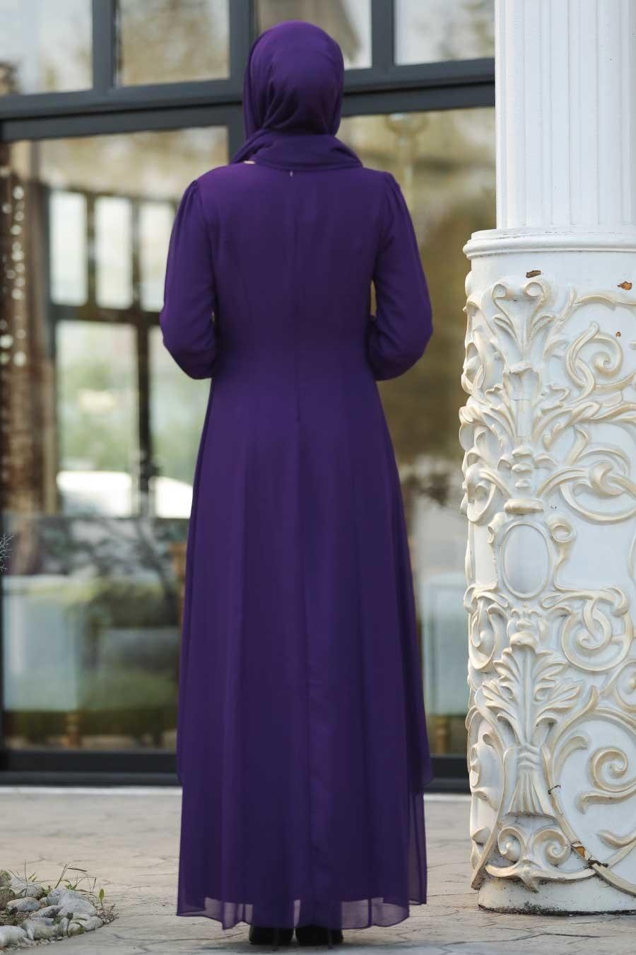 Nayla Collection - Dantel Detaylı Tüllü Mor Tesettür Abiye Elbise 95843MOR