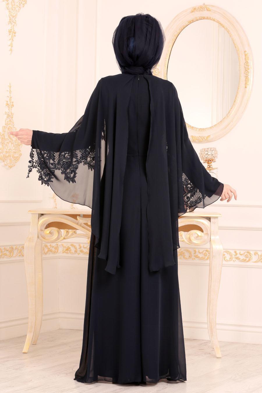 Nayla Collection - Dantel Pelerinli Lacivert Tesettür Abiye Elbise 25668L
