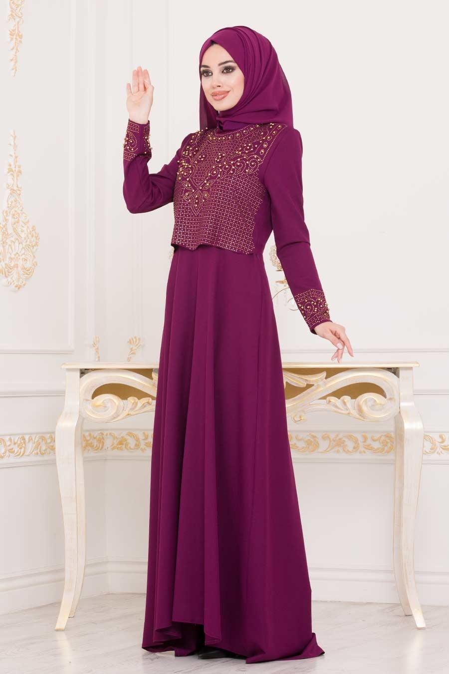 Nayla Collection - Dantelli Fuşya Tesettür Abiye Elbise 20110F