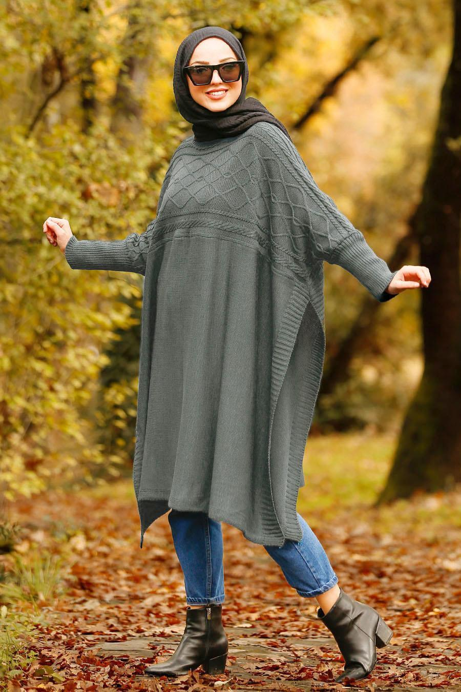 Nayla Collection - Dark Grey Hijab Poncho 21040KGR