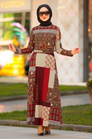 Nayla Collection - Desenli Kiremit Tesettür Elbise 10170KRMT - Thumbnail