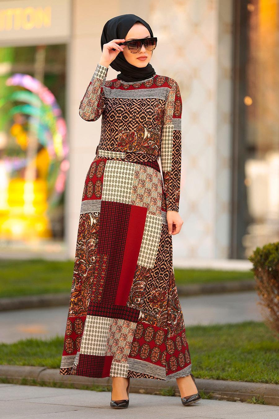 Nayla Collection - Desenli Kiremit Tesettür Elbise 10170KRMT